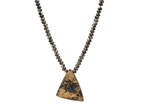 Fifteen neckpiece by Sarah Heyward  (Oxidised sterling silver, 18ct yellow gold, Boulder opal, rutilated quartz)