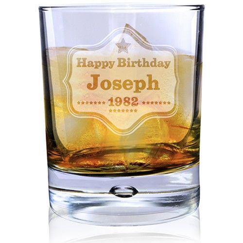 Personalised Bubble Whisky Glass - Star Badge  from Personalised Gifts Shop - ONLY £14.99