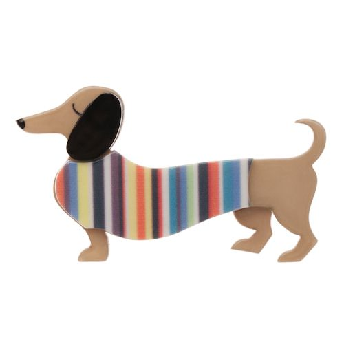Limited edition, original Erstwilder Samuel the Silly Sausage Brooch in multi. Designed by Louisa Camille Melbourne. Buy now