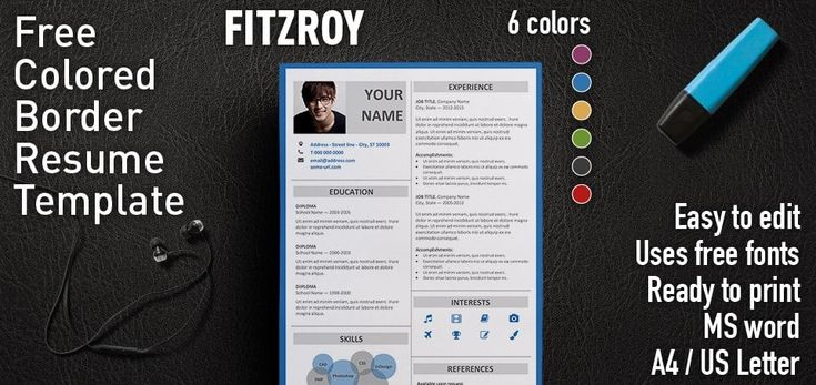 Fitzroy is a 2-column free resume template with colored border. Very professional and elegant border resume template. For MS Word. With 6 color styles.