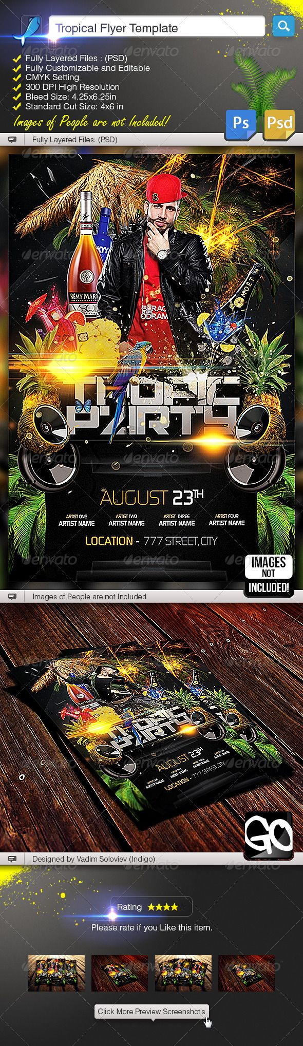 #Tropical #Flyer Template - Clubs & Parties #Events Download here: https://graphicriver.net/item/tropical-flyer-template/5379160?ref=alena994