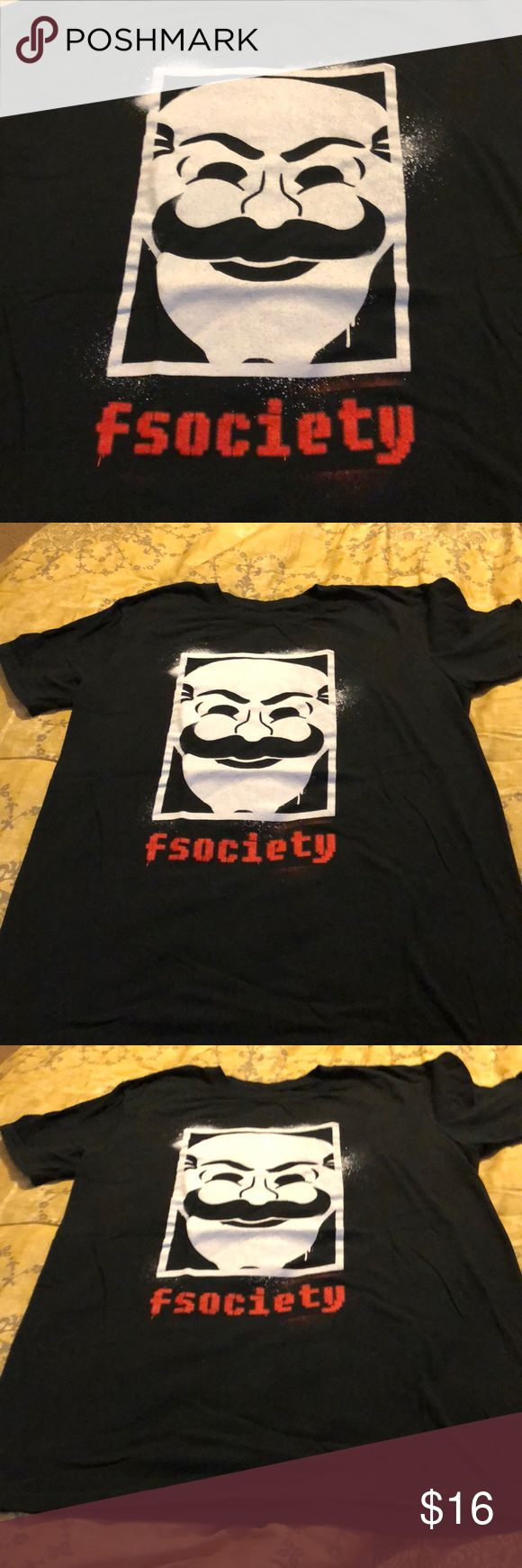 Mr. Robot (TV Show) Men's Medium T-shirt Brand New Brand new T-shirt from Loot Crate of Mr. Robot (TV Show) in men's Medium. Never worn or washed but Loot Crate shirts do not come with tags (so there were no tags to be removed or passed on). Black shirt with white decal and red letters (fsociety). Perfect for any Mr. Robot fan! Lootware Shirts Tees - Short Sleeve