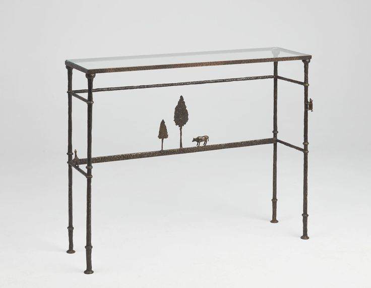 Marie Console | | Cast bronze and clear glass