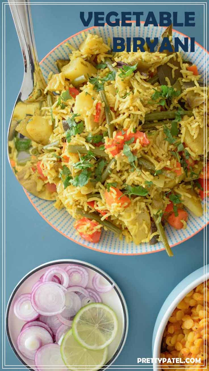 A quick and easy vegetable biryani recipe that is packed full of vegetables and flavour.  A filling rice dish that works as a side or a main meal. This is a vegan and gluten free recipe. Recipe by prettypatel.com via @pretty_patel