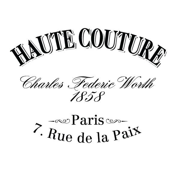 Water Decal Print transfer to furniture, wood or paper – Vintage French Advert: Haute Couture.