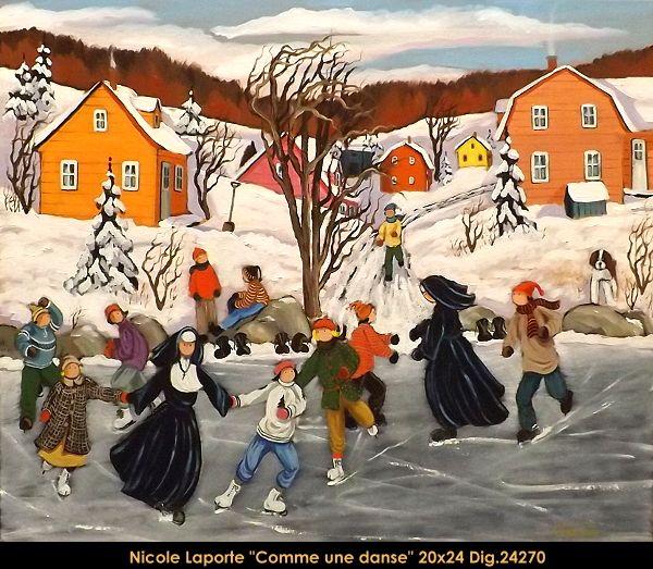 Nicole Laporte original oil painting on canvas #nicolelaporte #art #artist #canadianartist #quebecartist #naiveart #winterscene #skating #originalpainting #oilpainting #balcondart #multiartltee