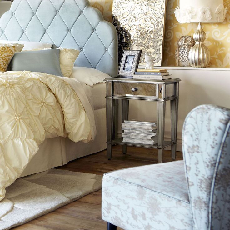 hayworth mirrored silver nightstand