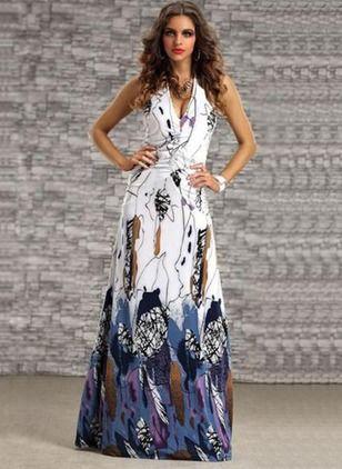 misturas de algodão Floral Sem magas Longo Informal Vestidos de