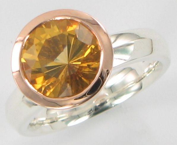 Gracering lasercut citrine rosegold/ss
