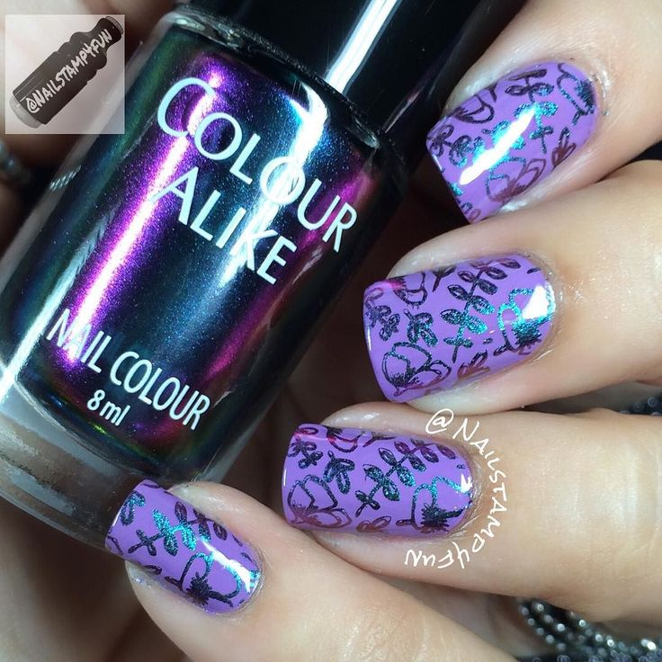 Hi! In a few moments I will be showing you swatches of the new @b.lovesplates and @colouralike Universe Collection.  Three gorgeous multichrome that you can stamp with or use as regular polish. Check my previous posts for more info.  For this Floral Mani I used: Base color: @rimmellondonus Wild Orchid Stamping color: @b.lovesplates B. a Milky Way Stamping plate:  @b.lovesplates Flower power Stamper: @winstonia_store Jumbo Firm Stamper.  10% Off orders of $30 or more:  Nailstamp4fun10 at…