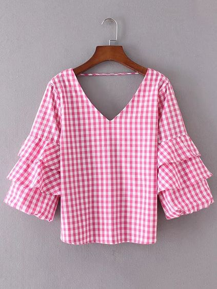 Layered Ruffle Sleeve Open Back Plaid Top