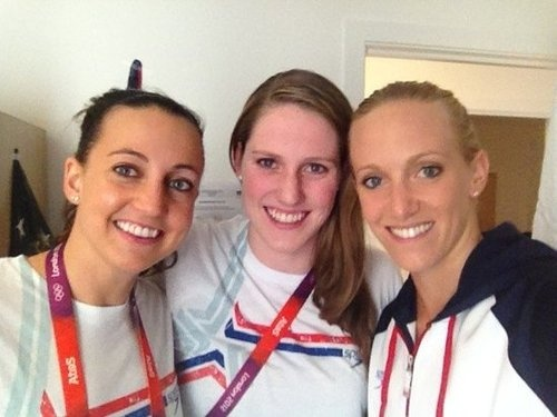 Dana Vollmer, Missy Franklin, and Rebecca Soni posed before making their way to the 4x100m medley relay finals.