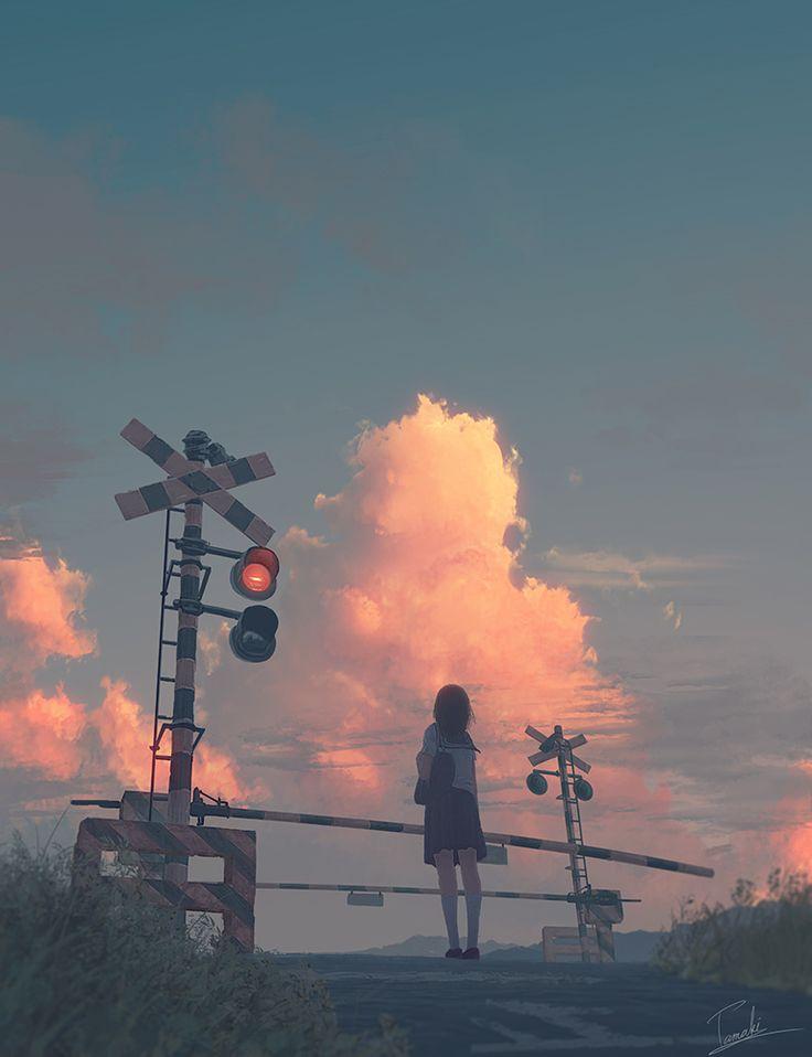 Japan Bahnübergang ... Sonnenuntergang ...roser Wolke ... Schülerin wartet