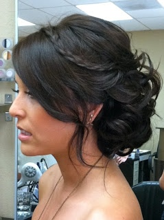 close up side to the other blonde chic hairstyle with braid and messy bun.