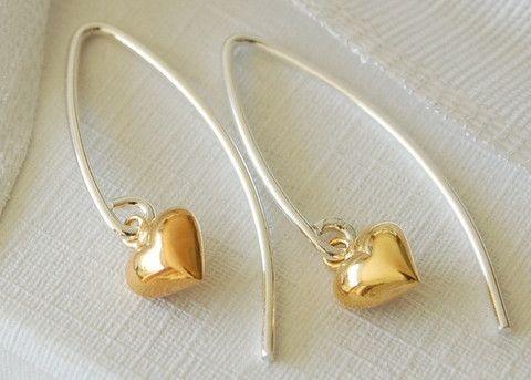 Gold vermeil heart earrings