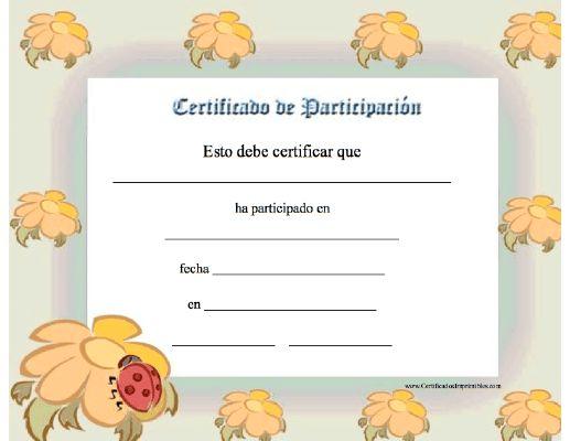 Certificado de Participación para imprimir los certificados, gratis para descargar e imprimir