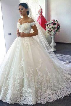 2019 Off The Shoulder A Line Wedding Dresses Tulle With Applique Sweep Train US$ 299.00 KKPCLFK9QH