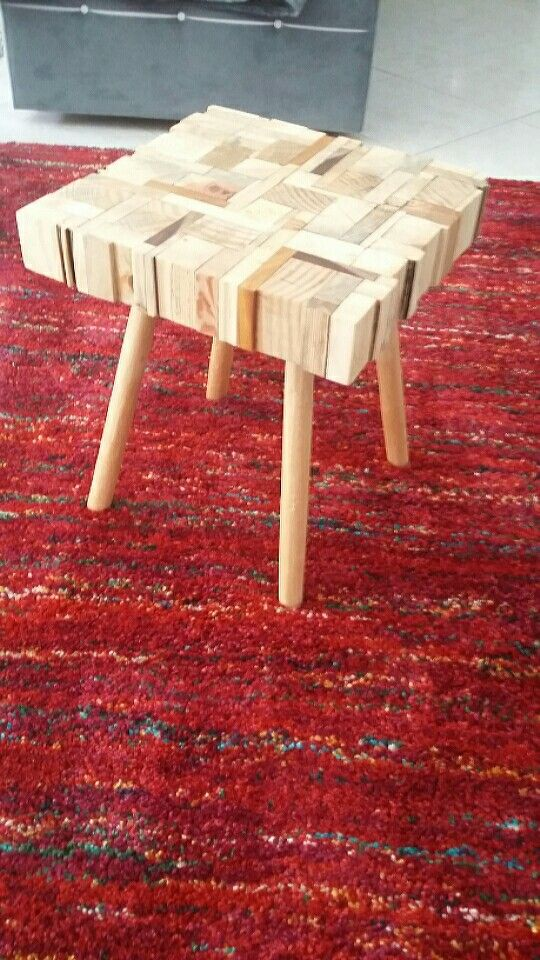 Handmade puzzle side table