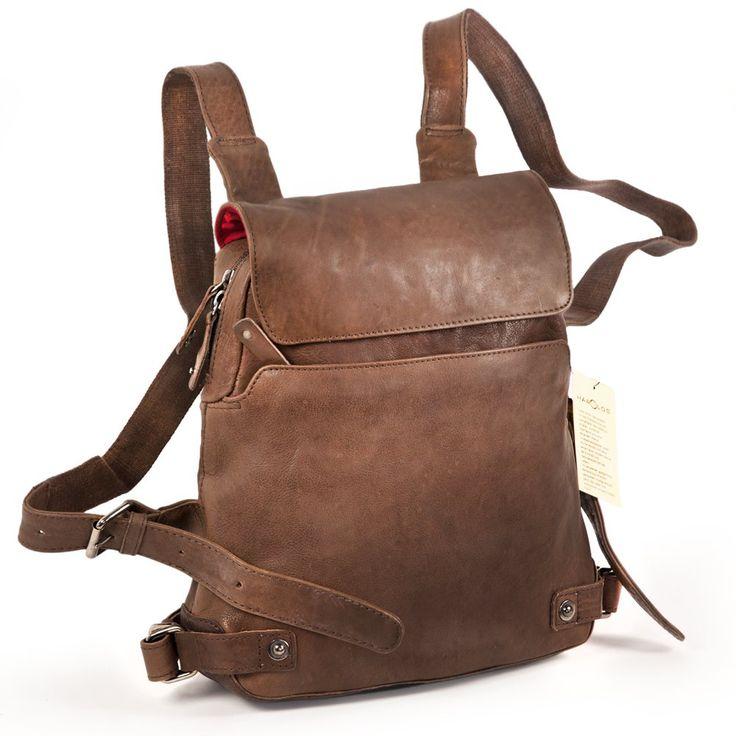 Kleiner Damen Handtaschen-Rucksack 223702, Leder, Braun