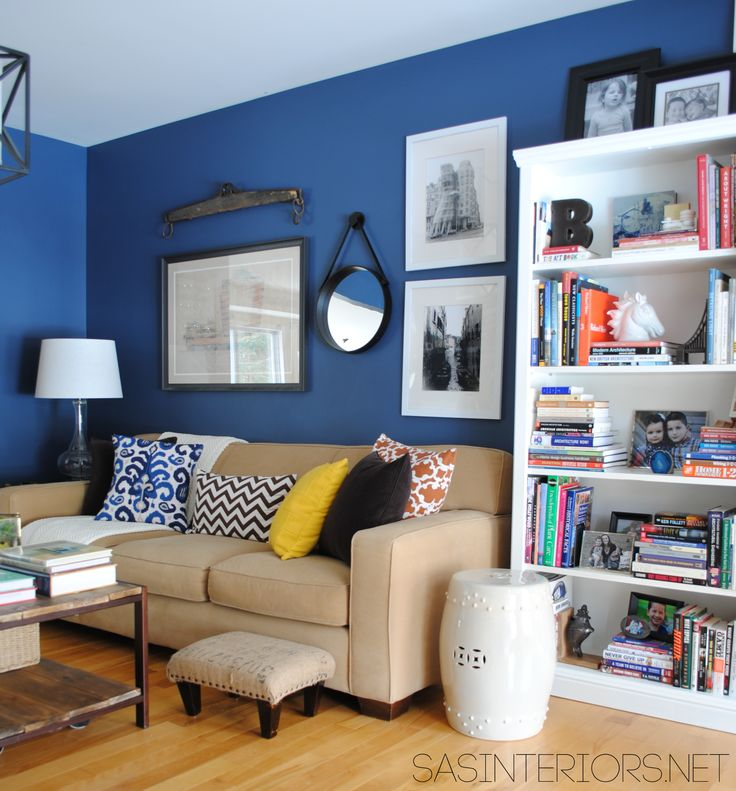 Creative Ideas for designing a Home Office / Family Room. Reveal with Navy walls & Yellow accents by @Jenna_Burger via sasinteriors.net
