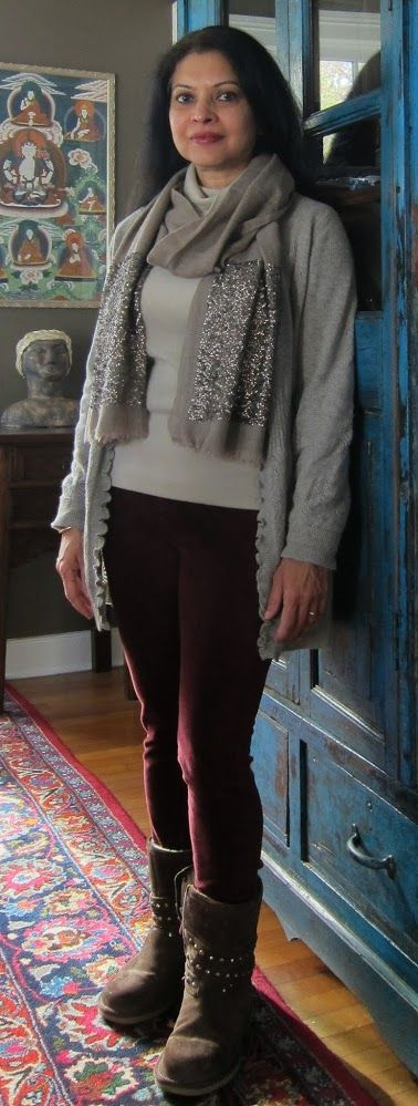 Sequins for day: Uniqlo fleece turtleneck, T. J. Maxx pointelle cashmere cardi, Uniqlo corduroy jeggings, Ugg boots and wool sequinned scarf from India - 2017