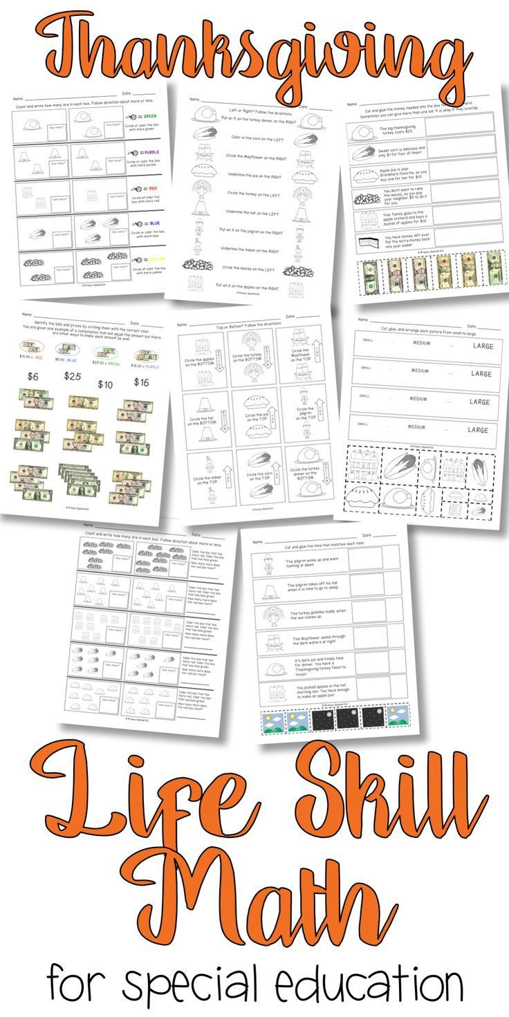 Print And Teach These Simple Life Skill Math Worksheets Are Perfect For Your Special Education Classroom Thanksgiving Themed Specialeducation Iteachsped [ 1471 x 736 Pixel ]