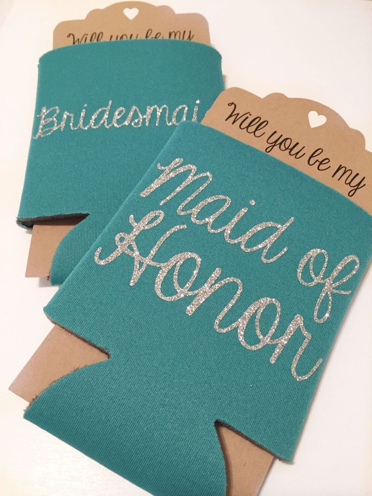 bridesmaid proposal koozie teal will you be my maid of