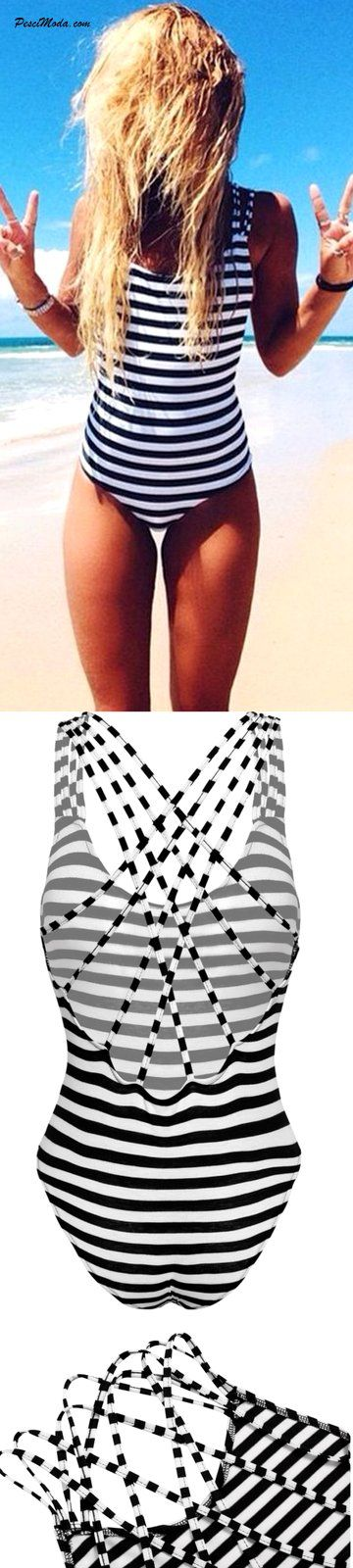 Black and White Striped One Piece Swimsuit $17.99 Only. #Summer #BeachWear…