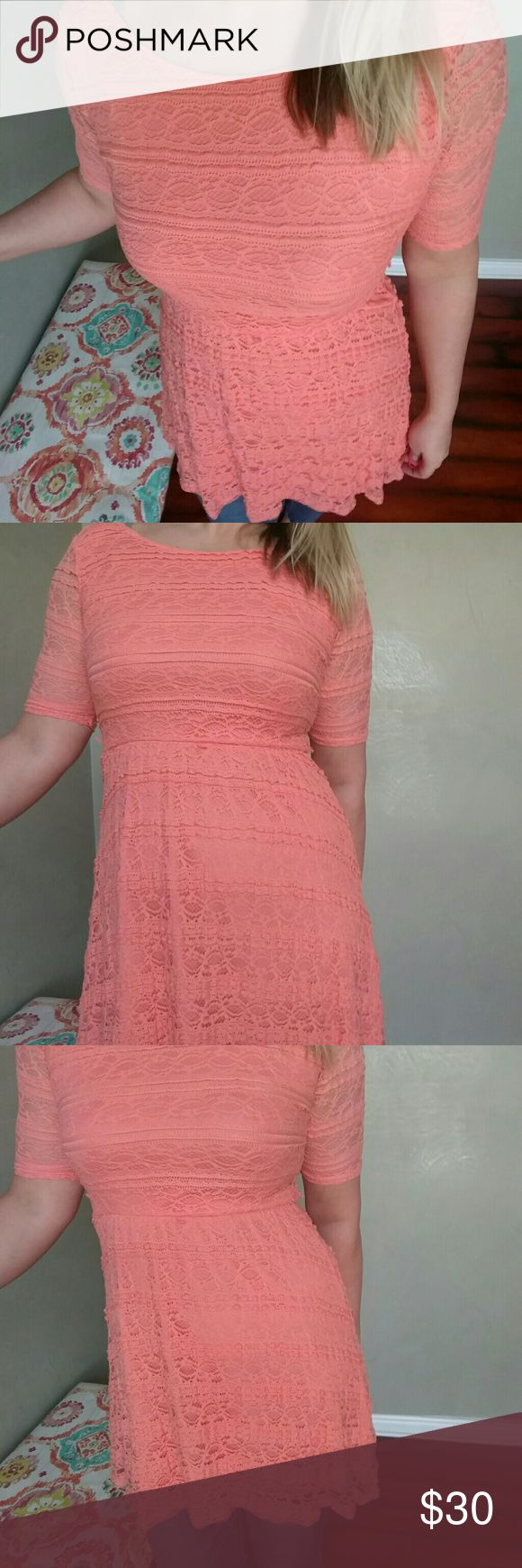 TODAY ONLY!! Coral Lace Dress Coral, lace, great condition. Missing belt. Dresses Mini