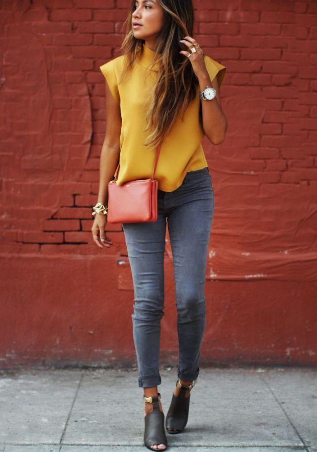 Jeans: J Brand Luxe Sateen Blouse: Zara Plaid shirt: Current/Elliot Heels: 3.1 Phillip Lim Bag: Céline Bracelets: C Wonder Watch: Tsovet