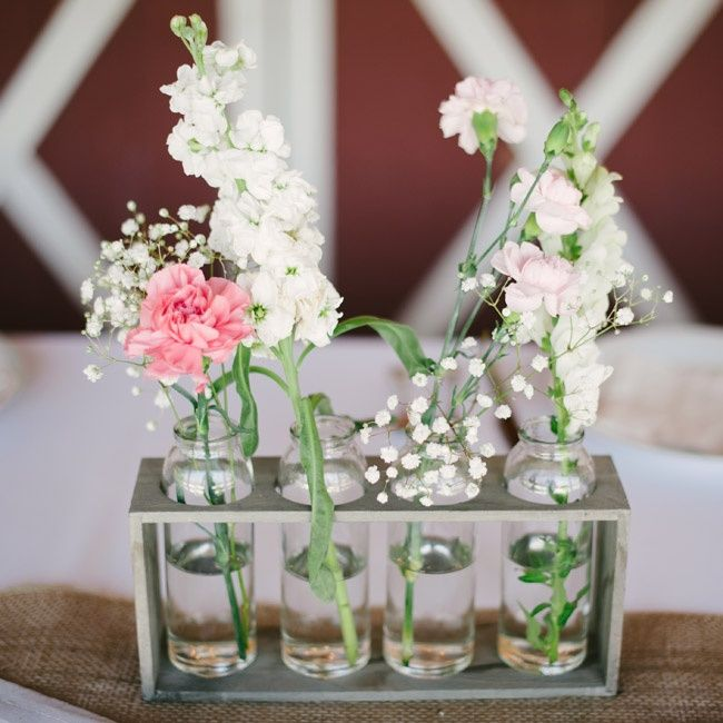 Simple wooden bud vase holders centerpieces stephanie for Wood vases for centerpieces