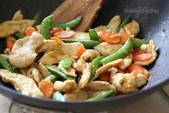 Skinny Spring Stir Fried Chicken with Sugar Snap Peas and Carrots