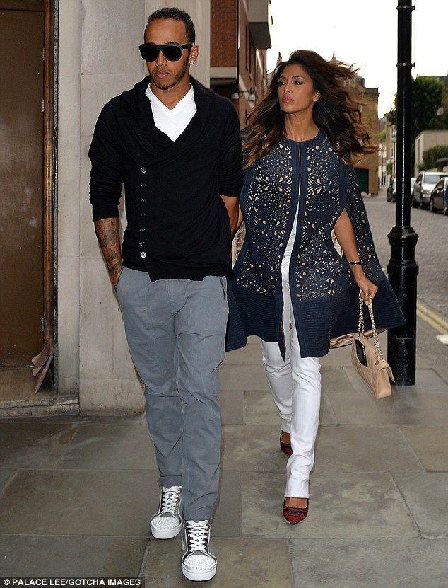 Date night: Nicole Scherzinger dines out with boyfriend Lewis Hamilton in London on Thursd...