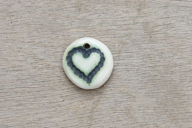 Ceramic pendant, glazed pendant, abstract pendant, heart pendant, ceramic disc by BlackRabbitCeramics on Etsy