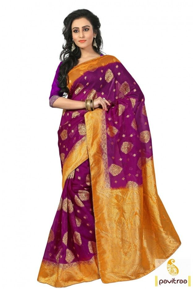 Walk with traditional fashion in this trendy violate gold ethnic wear pure banarasi silk saree online shopping with cash on delivery in India. Get the Surat wholesale supplier and manufacturer Madhyam Marketing beautiful wedding special banarasi silk sarees Online collection at pavitraa.in. #saree, #partywearsaree, #weddingsaree, #sari, #indianweddingsaree, #designersaree, #sareewithblouse, #sarees,  #fashionsaree, #latestsaree, #designercollection More: Any Query: Call Us:+91-7698234040