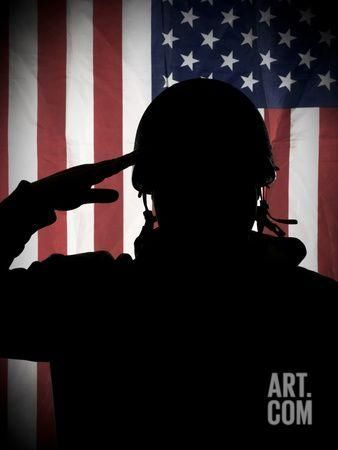 American (Usa) Soldier Saluting to USA Flag Premium Poster by Marko_Marcello at Art.com