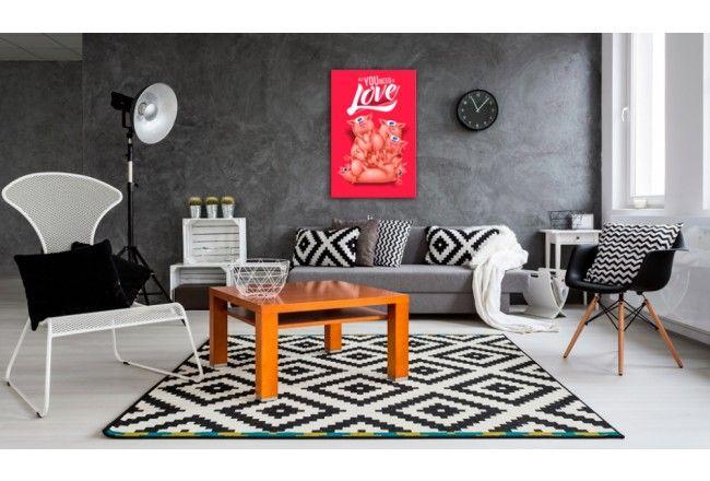 A do minimalistycznego wnętrza o stonowanych tonach polecamy wyrazistą dekorację ścienną w nowoczesnym stylu   #obraz #obrazy #stylplakatu #zabawny #napis #świnki #artgeist