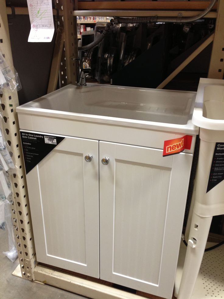 Add all in one laundry sink cabinet next to stacked front loaders. 199 ...
