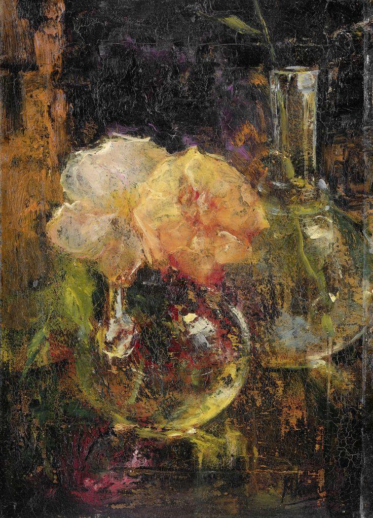 Gele rozen in een karaf, Menso Kamerlingh Onnes, 1896