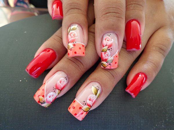 Unhas decoradas com flores em carga dupla (nail art) - Ana Paula Villar