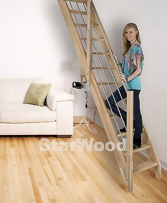 Raumspartreppe Buche 3000 inkl. Holz-Edelstahl Handlauf links, mit vollen Stufen in Heimwerker, Fenster, Türen & Treppen, Treppen | eBay