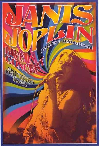 A colorfully psychedelic Janis Joplin poster for a concert at San Francisco's Avalon Ballroom in Feb 1967! Fully licensed - 2016. Ships fast. 24x36 inches. Check out the rest of our amazing selection