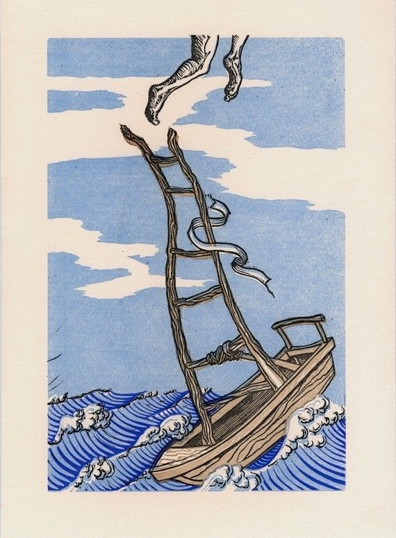 Jumping Off Point  Linocut