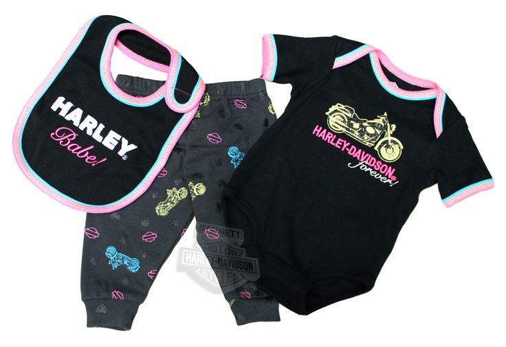 SG33-2392 - Harley-Davidson® Girls Baby 3 Piece Neon Accent Motorcycle Black Rib Knit Set - Barnett Harley-Davidson®