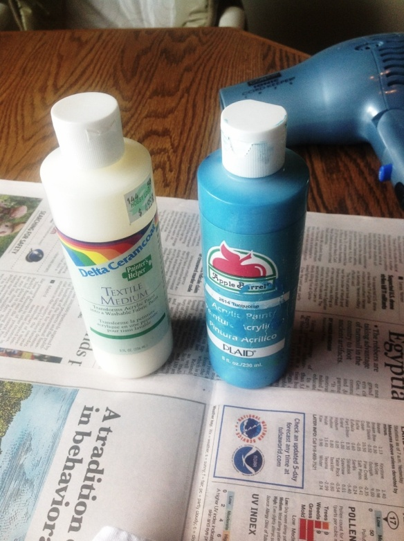 Make your own fabric spray paint-I put one part textile medium to one part acrylic paint in a squirt bottle I got from the Dollar Tree. Then I added about 4 parts water to that so it would spray well.