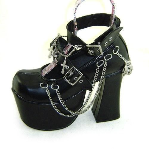 Japanese Harajuku Punk Skull Cross Chain High Platform Heels Shoes SD00918
