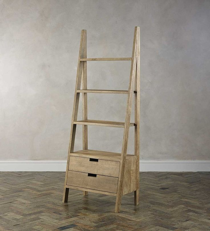 Ladder Like Book Shelf With Two Drawers By Wood Dekor By Wood Dekor Online Eclectic