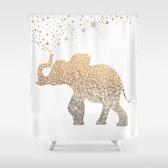 gold elephant shower curtain