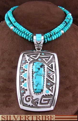 Native American Indian Navajo Turquoise Sterling Silver Pendant And Bead Necklace Set