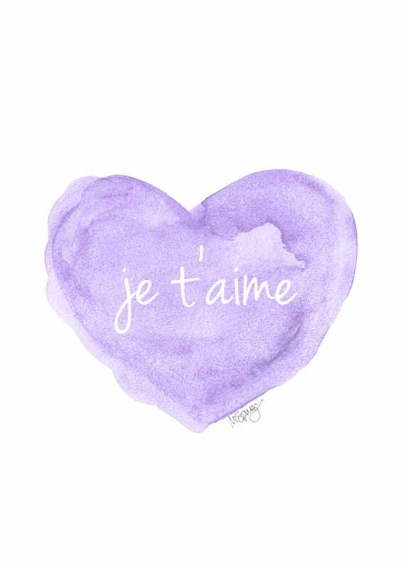 Lavender Nursery Decor, Je t'aime Watercolor Art Print, Purple Nursery Art, Love Quote, Lilac Nursery Decor, French Quote by OutsideInArtStudio on Etsy https://www.etsy.com/listing/198561141/lavender-nursery-decor-je-taime